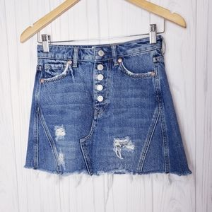 Free People Distressed Button Fly Denim Skirt